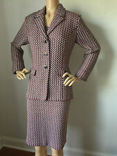 NEW ST JOHN KNIT SIZE 10 WOMENS DRESS SUIT TWEED SHEATH NAVY WHITE & CORAL RED