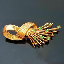 14k Yellow Gold Natural Emerald Knot Brooch Pin