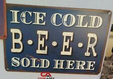 ICE COLD BEER Tin Metal Sign Rustic Look Bar or Man Cave Harley signs also Blue