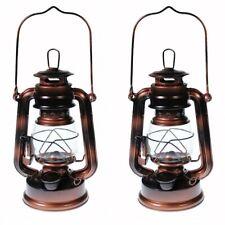 2 - Hurricane Kerosene Oil Lantern Emergency Hanging Light Lamp - Brass - 8 Inch