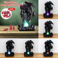 🔥 LED Ceramic Dragon Backflow Cone Incense Burner Waterfall Smoke Censer Holder