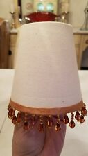 Mini Linen Table Lamp Shade with Hanging Ornament Beads