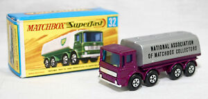 MATCHBOX SUPERFAST NUMBER 32-A LEYLAND TANKER ISSUED IN 1972, PURPLE CAB Z143