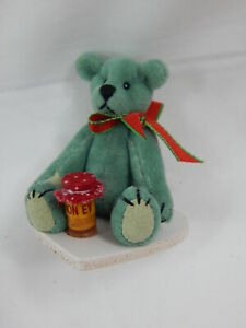 "World of Miniature Bears By Theresa Yang 2.5"" Plush Bear w/ honey pot #5342A"