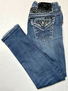 Miss Me Sequin Bling Jeans Low Skinny JE606353N Size 24 (26.5x27.5) EUC