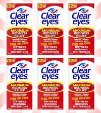 6 Clear Eyes Maximum Redness Relief Eye Drops 0.5 OZ