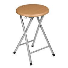 Premier Housewares Metal Folding Stool Wood Veneer Seat Home Furniture Chair