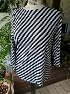 efixelle modisches Shirt Gr. 44 schwarz weiß Wendeshirt Punkte Streifen fast neu