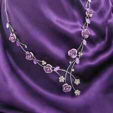 Purple Rose Crystal Necklace Glass Silver Tone Chain Flower Gift Jewelry