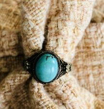 w/ Turquoise Stone Ring~Adjustable~Filigree Unbranded Victorian Style Gold Metal