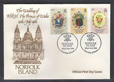 NORFOLK ISL FDCs: 1981 ROYAL WEDDING