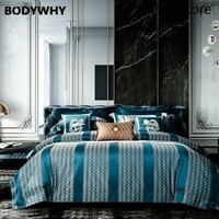 Luxury Stripe Jacquard Bedding Set 4/10pcs Duvet Cover Sets Bed Cover Set