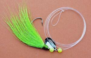 12 Saltwater Fishing Rigs -Chartreuse Bucktail Teaser 2/0 Spinner Fluke Rig [F6]