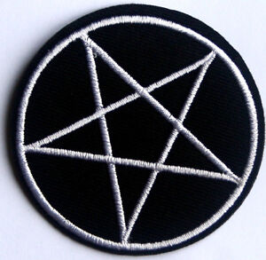 Pentagram Star Patch Halloween Embroidered Iron Sew On  Heavy Metal Goth Biker