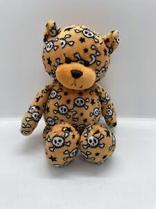 "GANZ TEDDY BEAR PLUSH SKULL AND CROSSBONES 9"" STUFFED ORANGE LOVEY HALLOWEEN TOY"