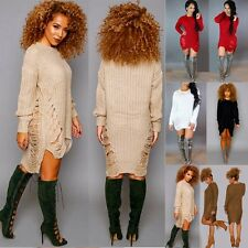 Sexy Women Long Sleeve Knitted Bodycon Party Holes Sweater Dress Tops Oversized