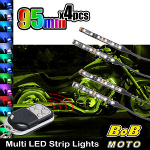 95mm Multi Color Changing LED RGB Light Strip w/Remote Control For Ducati Bikes