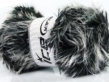 Lot of 4 Safari - Black & White Long Eyelash Yarn #36729 Ice 100 gram
