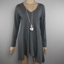 Cabi Dress Medium Solid Gray Long Sleeve Asymmetrical Hem V Neck