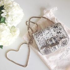 RARE $1295 Jimmy Choo Shadow Snakeskin Gold Chain Mini Gray Bag