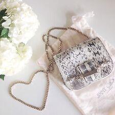 RARE $1295 Jimmy Choo Shadow Snakeskin Gold Chain Mini Gray Bag