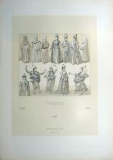 TURQUIE Costumes Intérieur Ville Pèlerinage LITHOGRAPHIE 19e Racinet OTTOMAN