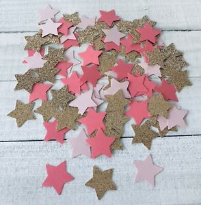 """Star Confetti 1"""" Champagne Gold Color with Pinks Birthday Wedding"""