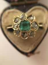 Antique Victorian Stunning Emerald And Diamond Cluster Ring Band