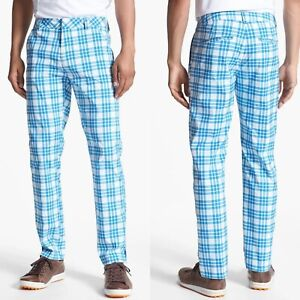 Puma Men's 36x32 Blue Plaid Tech Golf Pants Slim Fit Flat Front UPF 50+