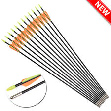 "28"" Archery Fiberglass Arrows Outdoor Target Points Recurve Bow Shooting Hunting"