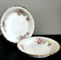 "2 AMERICAN LIMOGES china WILD ROSE 22 K Gold Soup Coupe Bowl 8""/pink white Gold"