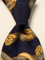 ERMENEGILDO ZEGNA Men's 100% Silk Necktie ITALY Luxury FLORAL Blue/Yellow EUC