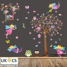 Fairy owls/swingtree/fleur/papillon bird nursery fille unisexe autocollant mural