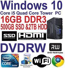 Windows 10 Core i5 Torre de juegos de cuatro núcleos PC16GB DDR3 - 500GB SSD y 2 tbhdd Dvdrw