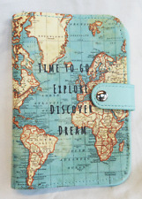 Vintage World Map Design Passport Holder - BNWT