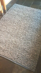 Mid grey bobble 100% Wool super soft highly textured rug Eco friendly SPECIAL