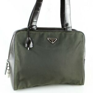 PRADA Tessuto Nylon Canvas Leather Shoulder Bag Purse Olive Green Brown