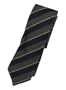 NWT - Drake's – Olive & Navy Grenadine Silk Tie w/Regimental Stripe