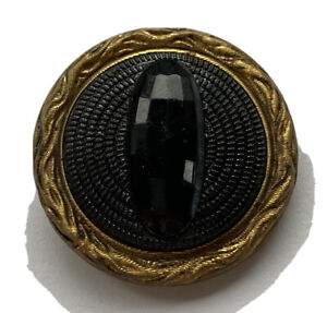 """Antique Vintage Molded Black Glass In Metal Button 1"""""""