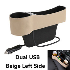 PU Leather Car Seat Gap Storage Box Crevice Organizer Pocket Dual USB Cup Holde