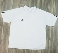 Adidas Men's Activewear Polo Shirt Short Sleeves Logo Size 2XL White