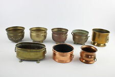 More details for 8 x vintage copper & brass planters / pots inc. sets, lion head handles (2987g)