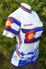 SHAVER SPORT COLORADO CYCLING JERSEY US W'S SZ XS WHITE BLU YELLOW RED SS