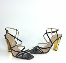 $675 Chanel Womens Black Patent Leather With Gold CC Logo  Heel Sandals 39, US 8