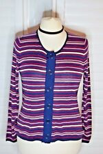 East Striped Cardigan Silk Cashmere Blend Navy Pink - Size 14