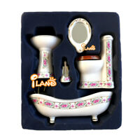 1/12 Dollhouse Bathroom Set Bathtub Basin Toilet Mirror Toilet Brush Stand
