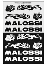Kit Adesivi Malossi neri Argento per Carene carrozzerie Moto Scooter Auto
