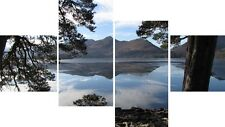 Large 4 Panel Set Derwent Water Lake District UK Canvas Picture Wall Art Prints