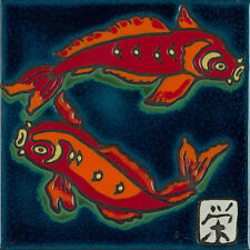 Hand Painted Ceramic Tile Art Koi Fish painting, hot plate, installation