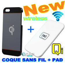 Coque Case Wireless + PAD Qi sans Fil + Cable USB Chargeur Charger iPhone 5/5S
